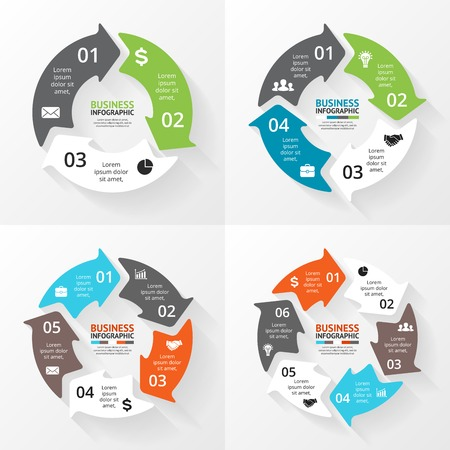 Vector circle arrows infographics set. Template for cycle diagram, graph, presentation and round chart. Business concept with 3, 4, 5, 6 options, parts, steps or processes. Abstract background.