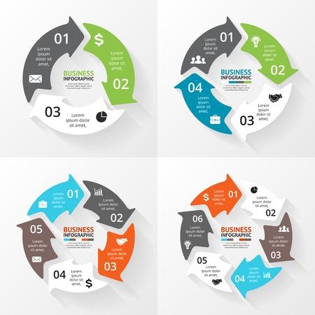 Vector cirkel pijlen infographics set. Sjabloon voor cycle diagram, grafiek, presentatie en ronde grafiek. Zakelijk concept met 3, 4, 5, 6 opties, delen, stappen of processen. Abstracte achtergrond.