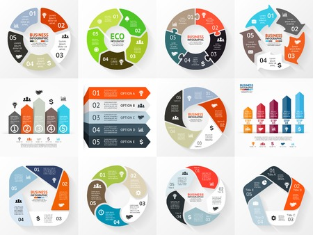 Vector circle arrows infographics set. Template for cycle diagram, graph, presentation and round chart. Business concept with 5 options, parts, steps or processes. Abstract background.  イラスト・ベクター素材