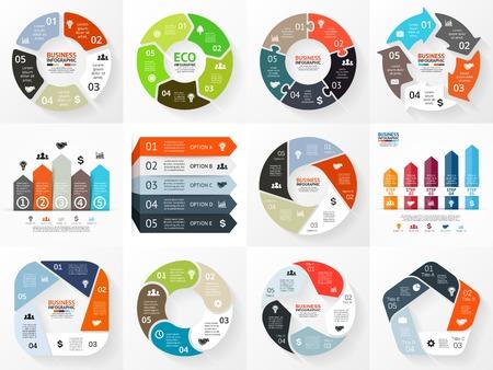 grafica de barras: Flechas Vector círculo Infografía serie. Plantilla para el diagrama del ciclo, gráfico, presentación y tabla redonda. Concepto de negocio con 5 opciones, partes, etapas o procesos. Resumen de antecedentes. Vectores