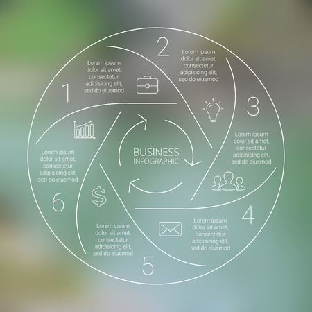 Circle line infographic. Template for cycle diagram, graph, presentation and round chart. Business concept with 6 options, parts, steps or processes. Linear graphic. Blur vector background.