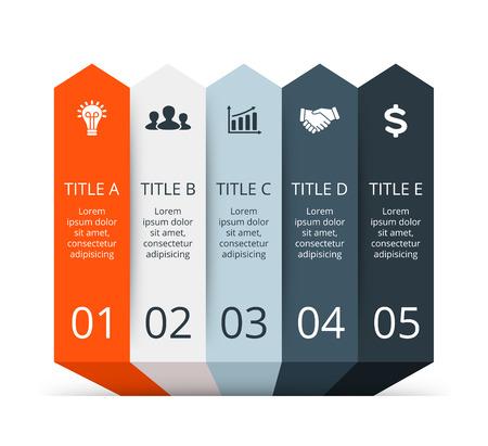 diagrama: Vector infografía. Plantilla para el diagrama, gráfico, presentación y gráfico. Concepto de negocio con 5 opciones, partes, etapas o procesos. Resumen de antecedentes.