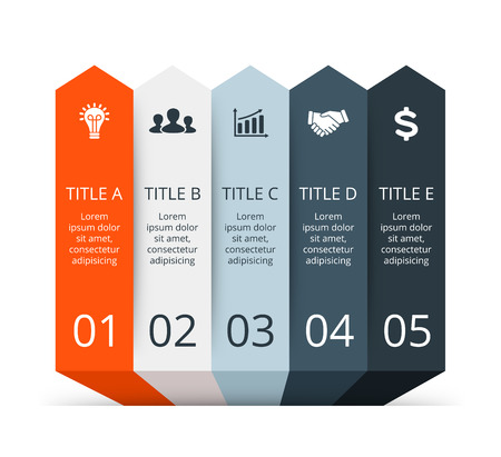 progress: Vector infographic. Template for diagram, graph, presentation and chart. Business concept with 5 options, parts, steps or processes. Abstract background.