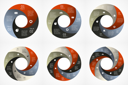 Vector Kreis Infografik. Vorlage für Zyklusdiagramm, Grafik, Präsentation und Runde Diagramm. Business-Konzept mit 3, 4, 5, 6, 7, 8 Möglichkeiten, Teile, Schritte oder Verfahren. Zusammenfassung Hintergrund. Standard-Bild - 37736101