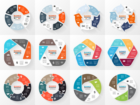 circles: Vector circle infographics set. Template for cycle diagram, graph, presentation, round chart. Business concept with 5 and 6 options, parts, steps or processes. Abstract background.