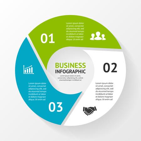 Vector Kreis Infografik. Vorlage für Zyklusdiagramm, Grafik, Präsentation und runde Diagramm. Business-Konzept mit 3 Optionen, Teile, Schritte oder Verfahren. Abstract background. Standard-Bild - 38216609