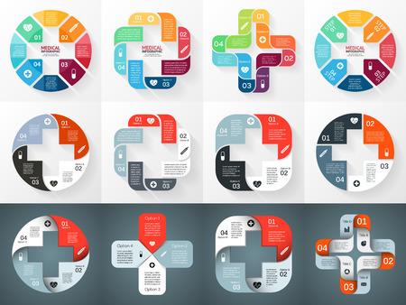 벡터 원 플러스 기호 인포 그래픽. 도표, 그래프, 프리젠 테이션 및 차트 템플릿. 4 옵션, 부품, 단계 또는 프로세스와 의료 건강 관리 개념입니다. 추상