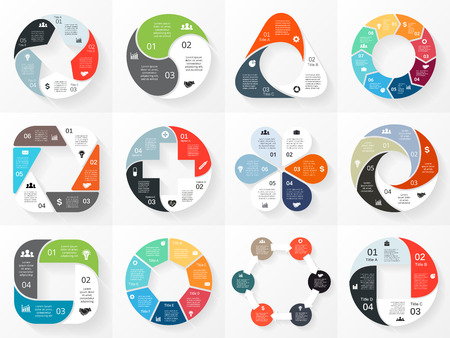 6 7: Vector circle arrows infographics set. Template for cycle diagram, graph, presentation and round chart. Business concept with 3, 4, 5, 6, 7, 8 options, parts, steps or processes. Abstract background.