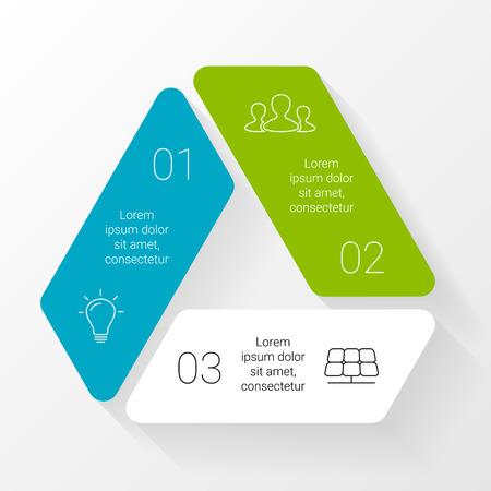 Vector cirkel driehoek infographic. Sjabloon voor cycle diagram, grafiek, presentatie en ronde grafiek. Zakelijk concept met 3 opties, delen, stappen of processen. Abstracte achtergrond.