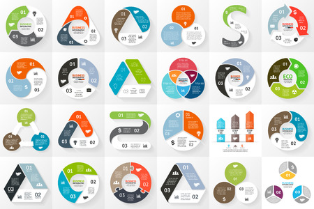 Vector circle arrows infographics set. Template for cycle triangle diagram, graph, presentation and round chart. Business concept with 3 options, parts, steps or processes. Vettoriali