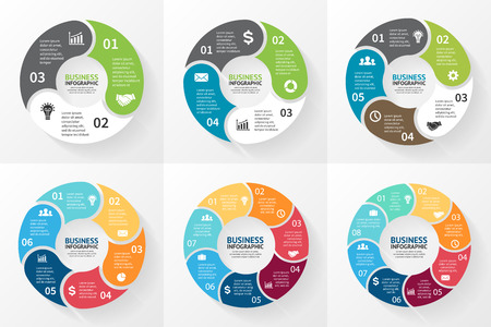charts: Vector circle infographic. Template for cycle diagram, graph, presentation and round chart. Business concept with 3, 4, 5, 6, 7, 8 options, parts, steps or processes. Abstract background.