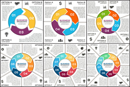 벡터 원 인포 그래픽. 사이클 도표, 그래프, 프리젠 테이션 및 원형 차트 템플릿입니다. 3, 4, 5, 6, 7, 8, 옵션, 부품 또는 단계와 비즈니스 프로세스 개념