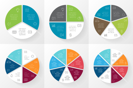 graph: Vector circle infographic. Template for cycle diagram, graph, presentation and round chart. Business concept with 3, 4, 5, 6, 7, 8 options, parts, steps or processes. Abstract background.
