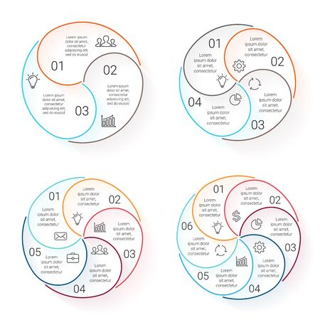 Circle line infographic. Template for cycle diagram, graph, presentation and round chart. Business concept with 3, 4, 5, 6 options, parts, steps or processes. Linear graphic. Vector