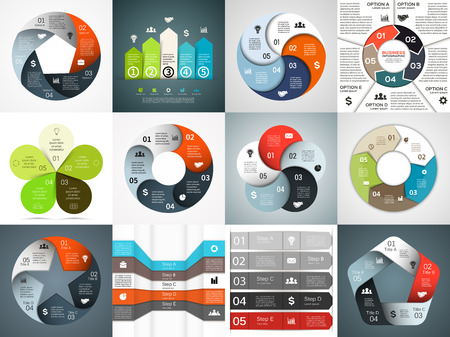 Vector infographics templates set. Template for cycle diagram, graph, presentation and round chart. Business concept with 5 options, parts, steps or processes. Abstract background.