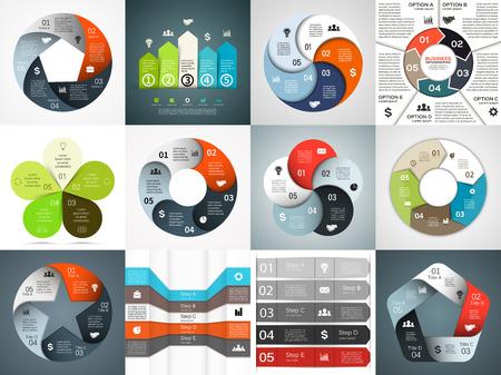 diagrama procesos: Plantillas infografía vector fijadas. Plantilla para el diagrama del ciclo, gráfico, presentación y tabla redonda. Concepto de negocio con 5 opciones, partes, etapas o procesos. Resumen de antecedentes. Vectores