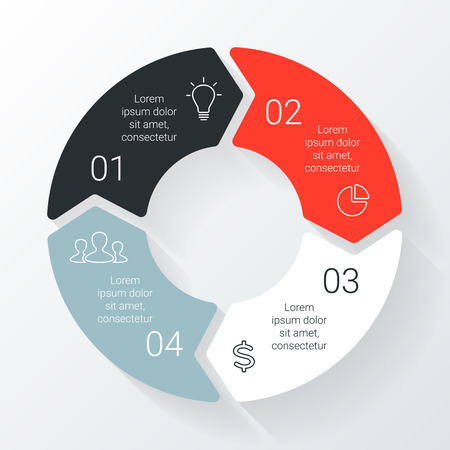 diagrama: Vector flechas círculo línea de infografía. Plantilla para el diagrama del ciclo, gráfico, la presentación y el gráfico ronda. Concepto de negocio con 4 opciones, partes, etapas o procesos. Gráfico lineal. Vectores