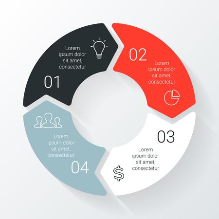 Vector lijn cirkel pijlen infographic. Sjabloon voor cyclus diagram, grafiek, presentatie en rond grafiek. Zakelijk concept met 4 opties, delen, stappen of processen. Lineaire afbeelding. Stock Illustratie