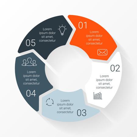 벡터 라인 원 화살표 인포 그래픽. 사이클 도표, 그래프, 프리젠 테이션 및 원형 차트 템플릿입니다. 5 옵션, 부품, 단계 또는 프로세스와 비즈니스 개념