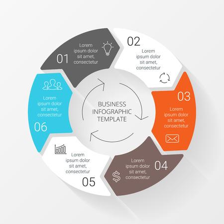 Vector elten Kreis Pfeile Infografik. Vorlage für Zyklusdiagramm, Grafik, Präsentation und runde Diagramm. Business-Konzept mit 6 Optionen, Teile, Schritte oder Verfahren. Linear-Grafik. Standard-Bild - 38906714