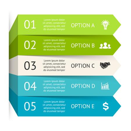 par: Setas do vetor infográfico. Molde para o diagrama, gráfico, apresentação, gráfico. Conceito do negócio com 5 opções, peças, etapas ou processos. Intensificar o progresso e crescimento.