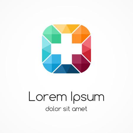 Plusteken logo template. Medische hospital symbool. Abstract concept van het ziekenhuis. Geneeskunde arts.