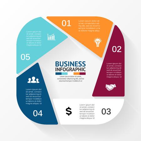 Vecteur pentagone infographie. Modèle de diagramme de cycle, le graphique, la présentation et tableau ronde. Business concept avec 5 options, des pièces, des mesures ou des procédés. Abstract background.