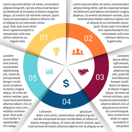 Vector circle infographic. Template for cycle diagram, graph, presentation and round chart. Business concept with 5 options, parts, steps or processes. Abstract background. Vector