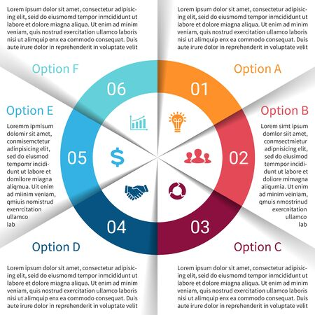 Vector circle infographic. Template for cycle diagram, graph, presentation and round chart. Business concept with 6 options, parts, steps or processes. Abstract background. Vector