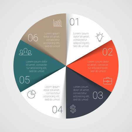 Vecteur cercle infographie. Modèle pour le diagramme de cycle, graphique, présentation et carte tour. Concept d'affaires avec 6 options, des pièces, des mesures ou des procédés. Mise en page de démarrage. Banque d'images - 38906746