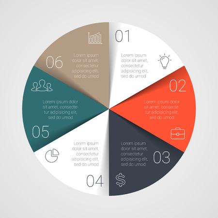 Vector circle infographic. Template for cycle diagram, graph, presentation and round chart. Business concept with 6 options, parts, steps or processes. Startup layout.