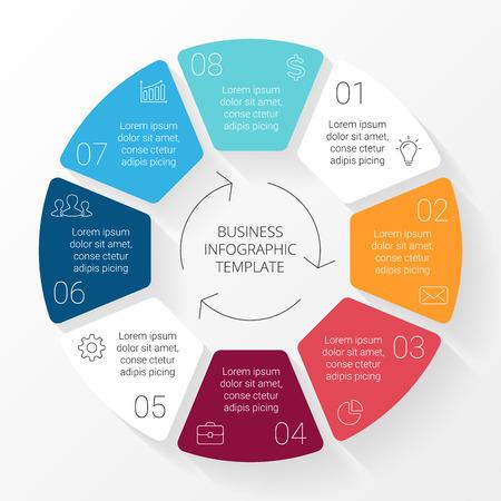 Vector cirkel lijnen infographic. Sjabloon voor cyclus diagram, grafiek, presentatie en rond grafiek. Zakelijk concept met 8 opties, delen, stappen of processen. Lineaire afbeelding.
