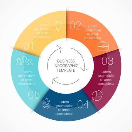 Vector Kreislinie Infografik. Vorlage für Zyklusdiagramm, Grafik, Präsentation und runde Diagramm. Business-Konzept mit 5 gleiche Teile, Optionen, Schritte oder Verfahren. Linear-Grafik. Standard-Bild - 39278887