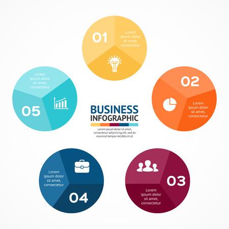 벡터 원 인포 그래픽. 사이클 도표, 그래프, 프리젠 테이션 및 원형 차트 템플릿입니다. 5 옵션, 부품, 단계 또는 프로세스와 비즈니스 개념입니다. 추상