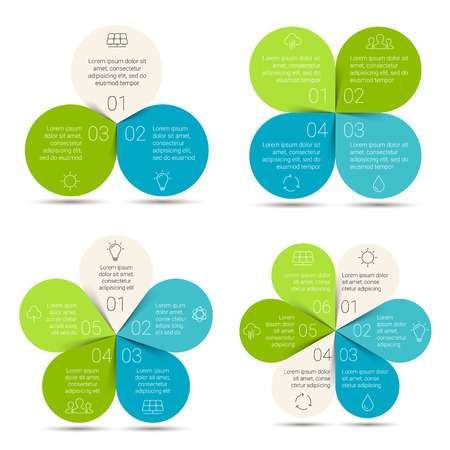 water on leaf: Vector linear circle eco infographic. Ecology template for diagram, graph, presentation and chart. Environmental care concept with 3, 4, 5, 6 options, parts, steps or processes. Nature concept.