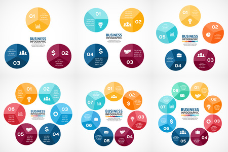 7 8: Vector circle infographics set. Template for cycle diagram, graph, presentation and round chart. Business concept with 3, 4, 5, 6, 7, 8 options, parts, steps or processes. Marketing data brochure.
