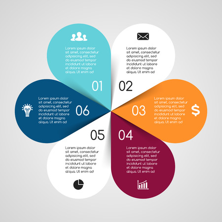 six: Vector circle infographic. Template for cycle diagram, graph, presentation and round chart. Business concept with 6 options, parts, steps or processes. Abstract background.