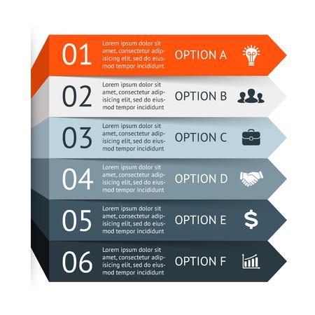 diagrama: Vector infografía. Plantilla para el diagrama, gráfico, presentación y gráfico. Concepto de negocio con 6 opciones, partes, etapas o procesos. Resumen de antecedentes. Vectores