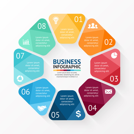 Vector circle infographic. Template for cycle diagram, graph, presentation and round chart. Business concept with 8 options, parts, steps or processes. Abstract background.