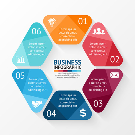 Vector circle hexagon infographic. Template for cycle diagram, graph, presentation and round chart. Business concept with 6 options, parts, steps or processes. Abstract background.
