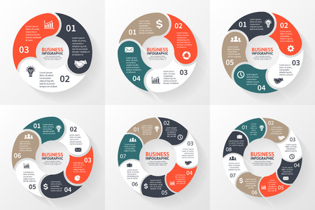 Vector circle arrows infographic. Template for cycle diagram, graph, presentation and round chart. Business concept with 3, 4, 5, 6, 7, 8 options, parts, steps or processes. Abstract background. Illustration