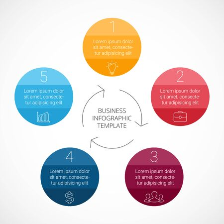 business cycle: Vector circle infographic. Template for cycle diagram, graph, presentation and round chart. Business concept with 5 options, parts, steps or processes. Linear graphic.