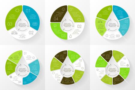 Vector lineaire cirkel eco infographic. Ecologie sjabloon voor diagram, grafiek, presentatie en grafiek. Zorg voor het milieu concept met 3, 4, 5, 6, 7, 8 opties, delen, stappen of processen. Natuur concept. Waterdruppel. Stock Illustratie