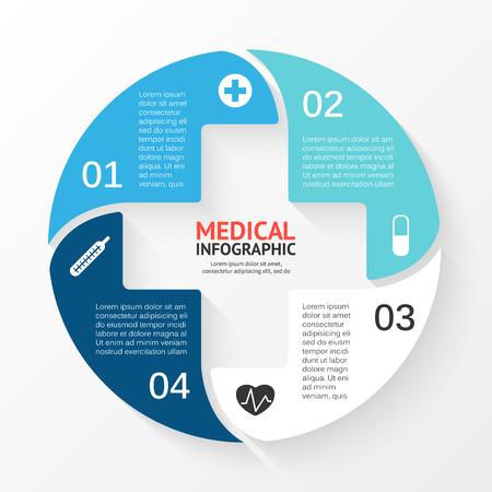 Vector cerchio segno infografica. Modello per schema, grafico, presentazione e grafico. Concetto di assistenza sanitaria medico con 4 opzioni, parti, passi o processi. Sfondo astratto. Archivio Fotografico - 40601246