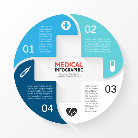 medical symbol: Vector circle plus sign infographic. Template for diagram, graph, presentation and chart. Medical healthcare concept with 4 options, parts, steps or processes. Abstract background.
