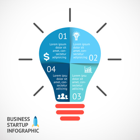 Vector light buble infographic. Template for circle diagram, graph, presentation and round chart. Business startup idea concept with 4 options, parts, steps or processes. Successful brainstorming.
