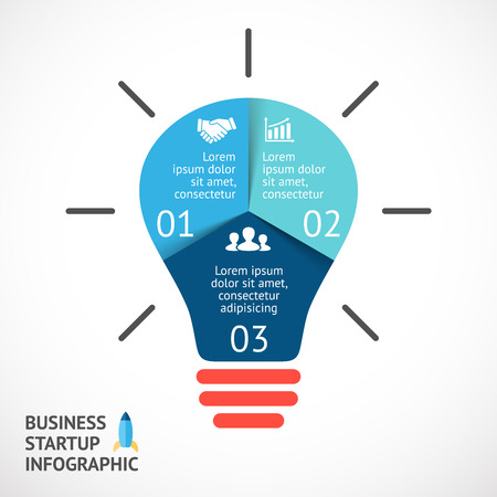 Vector Licht buble Infografik. Vorlage für Kreisdiagramm, Grafik, Präsentation und runde Diagramm. Existenzgründung Idee Konzept mit 3 Optionen, Teile, Schritte oder Verfahren. Erfolgreiche Brainstorming. Standard-Bild - 40628482