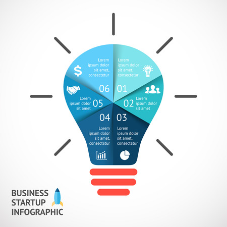 buble: Vector light buble infographic. Template for circle diagram, graph, presentation and round chart. Business startup idea concept with 6 options, parts, steps or processes. Successful brainstorming.