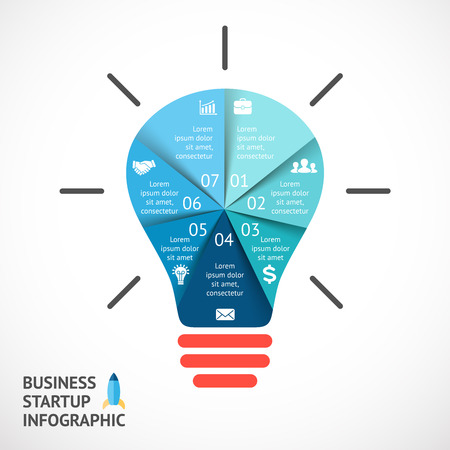 buble: Vector light buble infographic. Template for circle diagram, graph, presentation and round chart. Business startup idea concept with 7 options, parts, steps or processes. Successful brainstorming.