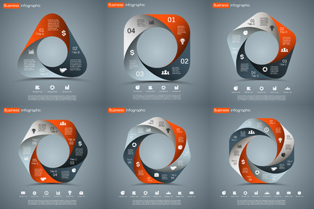 Vector circle infographic. Template for cycle diagram, graph, presentation and round chart. Business concept with 3, 4, 5, 6, 7, 8 options, parts, steps or processes. Abstract background.